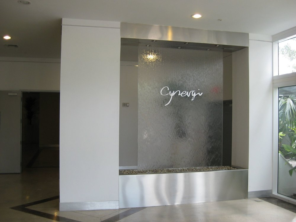 Waterwall logo lobby entrance