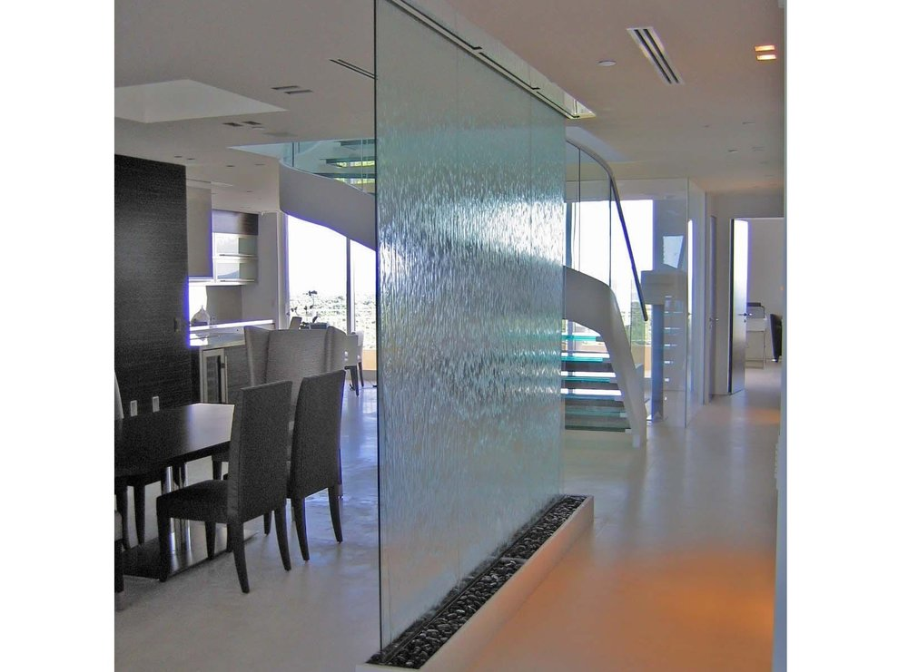 Clear Glass Waterwall Room Divider