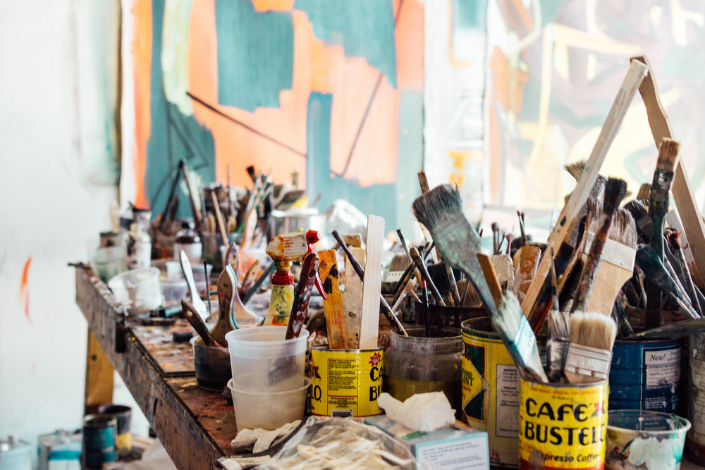A view of the art workshop studio in Italy