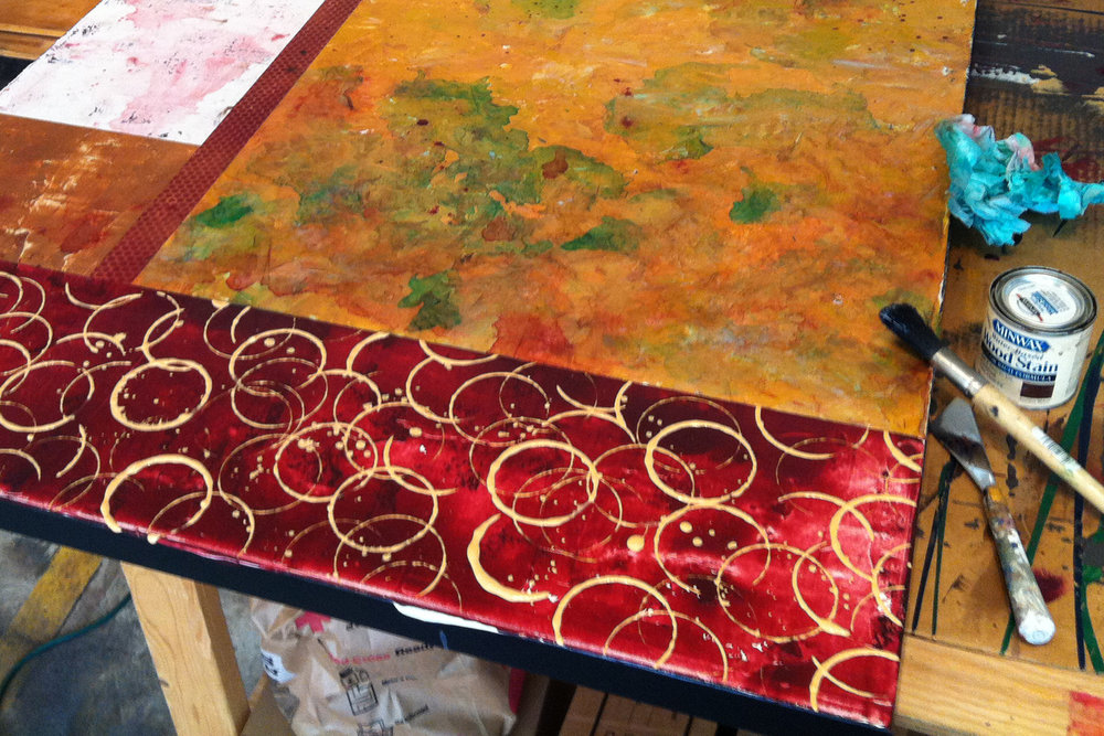 This view of a painting in progress was taken during our artist travel workshop in France