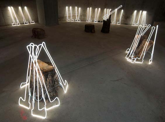 Keith Lemley - Neon Ax installation