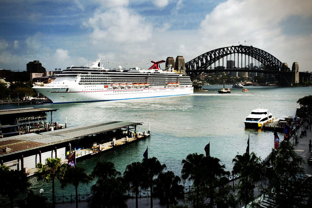 Carnival Spirit side view in Sydney Harbour Alchemy Lounge art by Taylor Smith.jpg