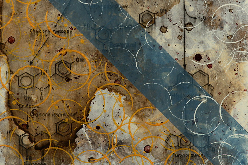 Detail of blue brown gold chemical molecule nautical artwork in progress by artist Taylor Smith.jpg