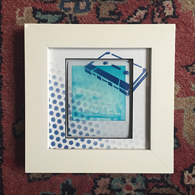 Polaroid hand framed painted cassette motel.JPG