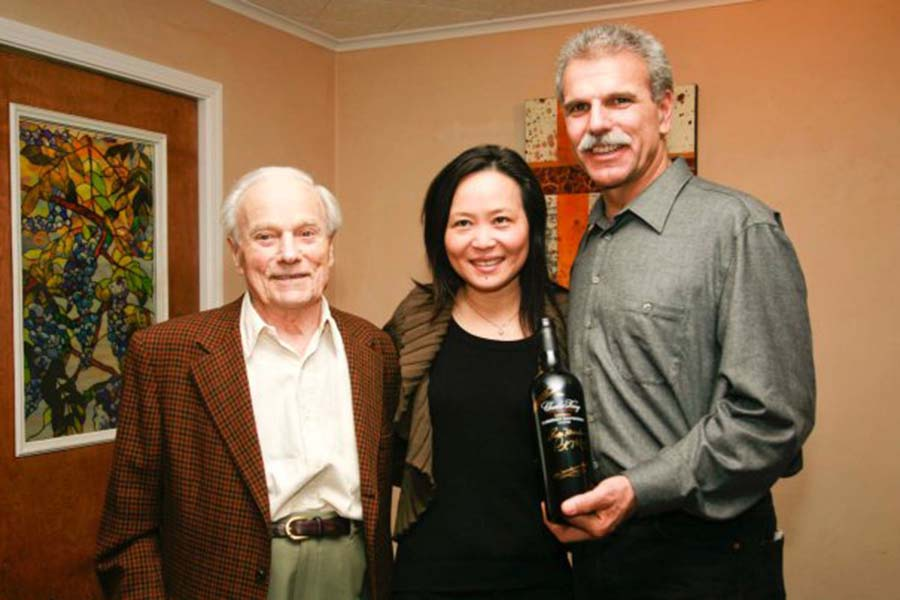 Mondavi family at the Charles Krug tasting room with collection of Taylor Smith artwork