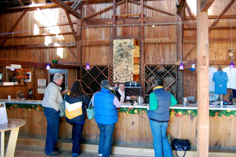 This rustic winery tasting area is enhanced by Taylor Smith chemical & wine artwork