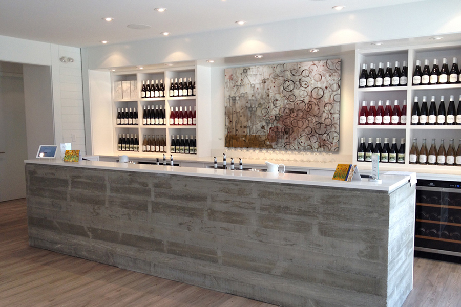 Abstract wine theme chemical art by Taylor Smith featured in tasting room bar