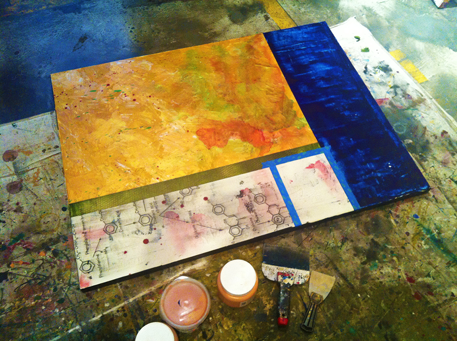 A wine chemical painting in progress in the studio of artist taylor Smith. Smith blends wine with her paint to create abstract wine themed art