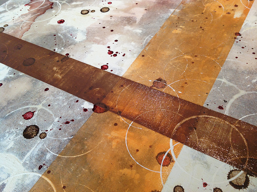 Wine and art - a painting in progress from Taylor Smith's winery paintings for tasting rooms and homes of wine collectors