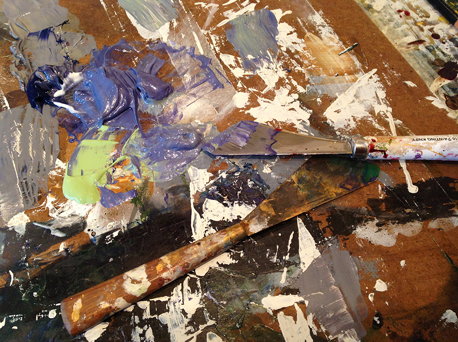 pallet knife and pallet in the studio of artist Taylor Smith