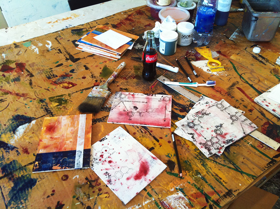 Small original wine themed works of art in progress in the studio of Taylor Smith