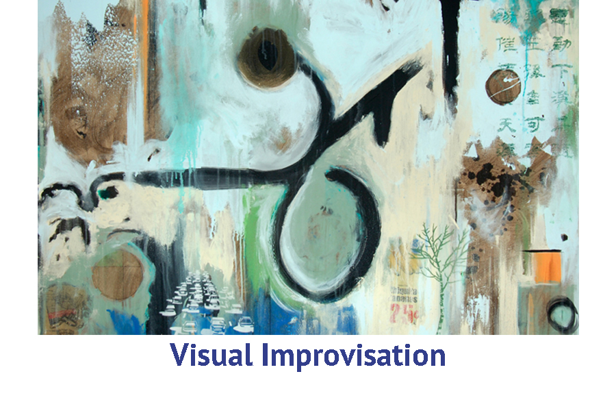 Visual improvisation in abstract painting art travel workshop