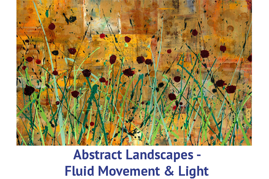 Abstract Landscape painting and exploring fluid movement and light with golden colors