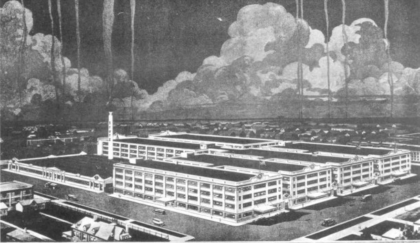 Early artist rendering of the Stutz Motor Car Factory circa 1913