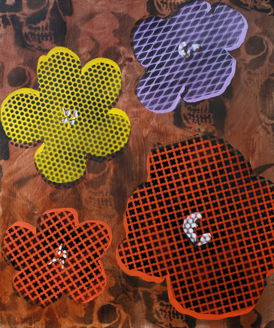 Still Life Four Flowers & Skull