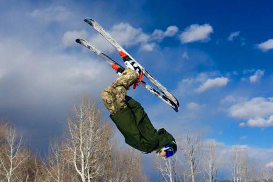 Cody from Canada gets some air in Park City after grabbing a vial of snow
