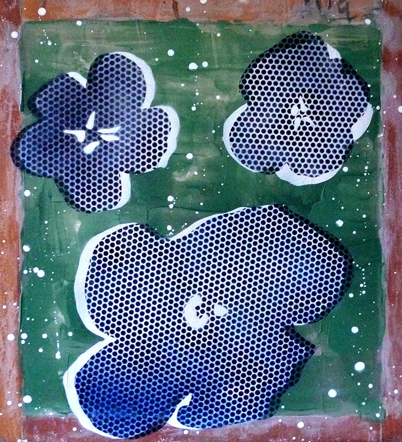 Three Flowers in Blue & Green