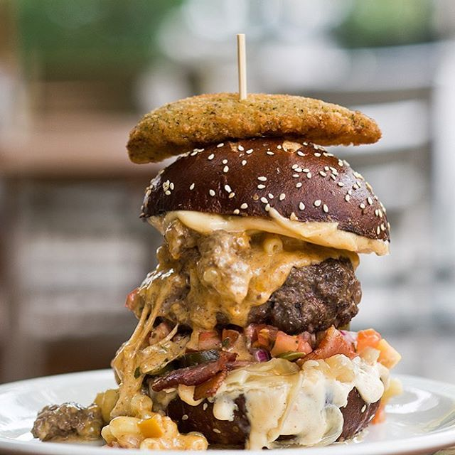 LeBurger week begins September 1! We will be open all 7 days for lunch and dinner!  The Bison Mac n' Cheese Burger 2.0. Pretzel Bun, 1/2 Lb All Beef Patty, House Chipotle Mayo, Caramelized Onions, Crispy Bacon, Pico De Gallo, Jalapeño, Bison Mac n' Cheesy Goodness All Topped With a Deep Fried Pickle!  #leburgerweekwpg  #leburgerweek  #leburguer  #ciaomagazine  #wpgeats #wpg