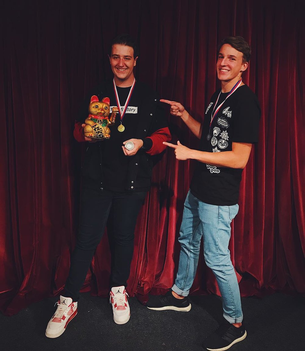 SLYZ 1A champion Michael Malik & runner up Matous Tomes  Photo credits @michaelmalik__ on Instagram