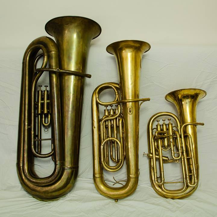 Three of Jeff Miller's bass saxhorns