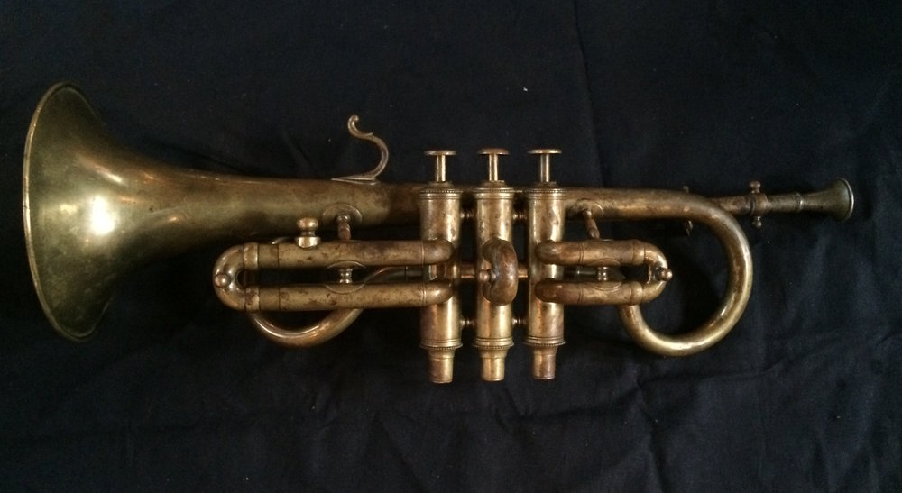Cornet in E flat by Henry Distin (Gt. Newport Street, London) c. 1851–1868.