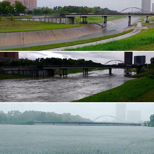 Houston bayou on Friday, Saturday, Sunday. Snapped by Raechel Peng.  WE CAN GET THROUGH THIS! Hope everyone is safe? Anyone that needs help with anything can DM me, i have a few contacts that can help, also follow @harveyrescuepage For updates and rescue. God bless. #hurricaneharvey #Houston #Harvey #flood #bayou #houstonstrong