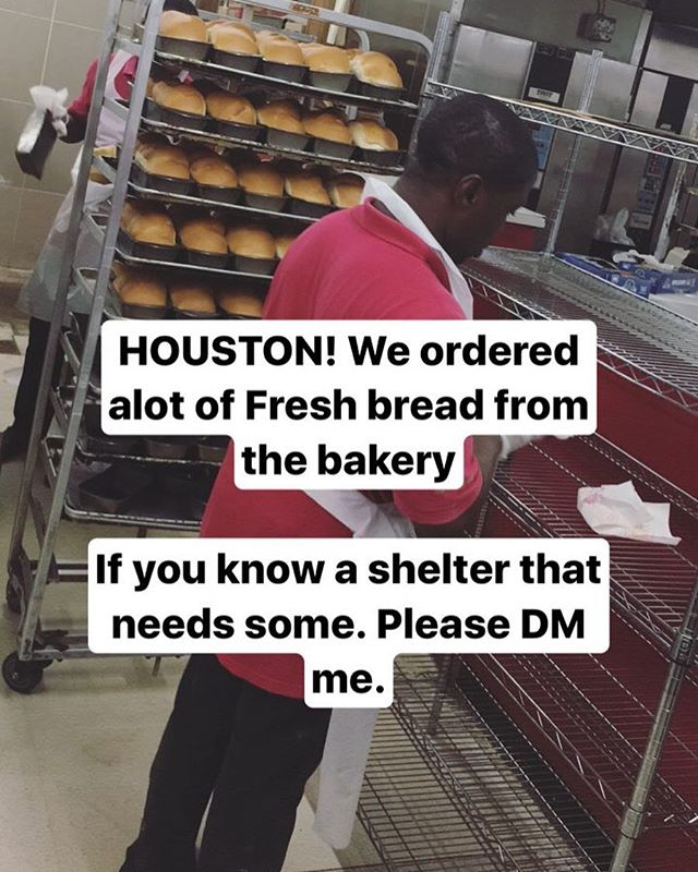 HOUSTON! just ordered alot of fresh bread, straight from the bakery. If you know any specific shelters that need some please let me know. DM me if you want. Thank you #houstonstrong #Houston #hurricaneharvey #harvey #shelter #food
