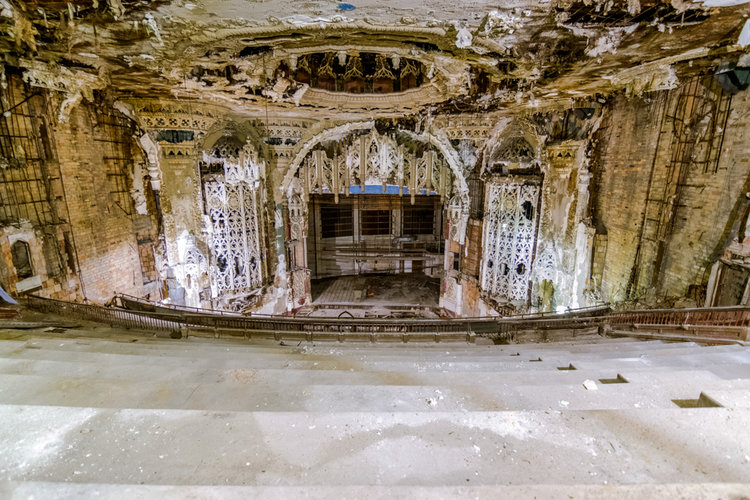 The tattered inside of the United Artists Theater in 2016. Photo by Eric Hergenreder
