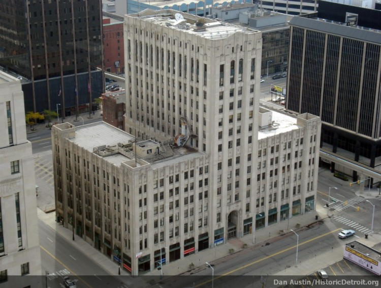 Photo of the Free Press Building from above by Dan Austin of  Historic Detroit