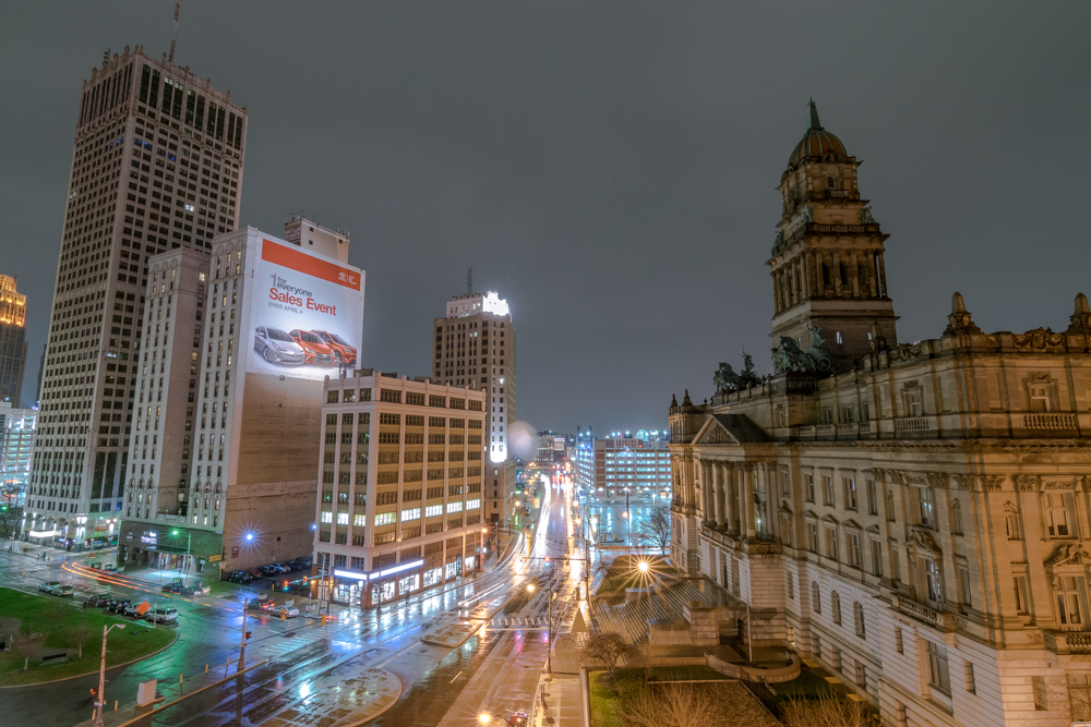 The Wayne County Building during a thunderstorm in 2015. Photo by  Eric Hergenreder