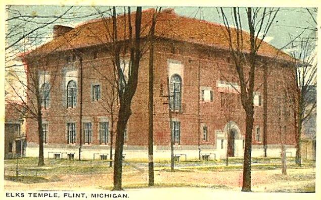 Postcard of the Flint Elks Lodge Building, circa 1922.