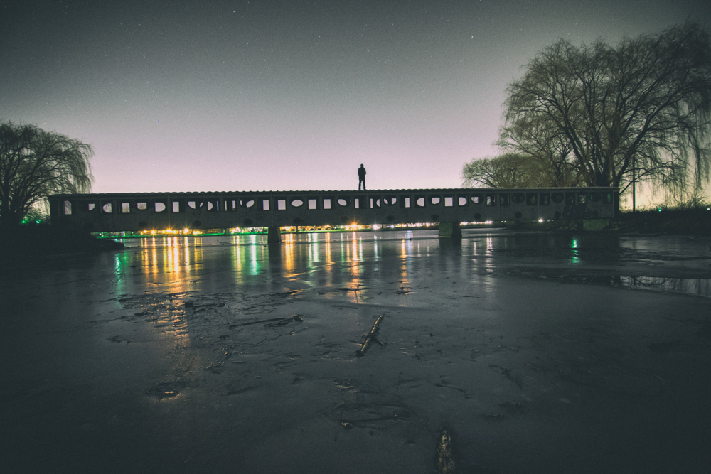 Photo of the Belle Isle Golf Course bridge in the winter of 2016 by Eric Hergenreder