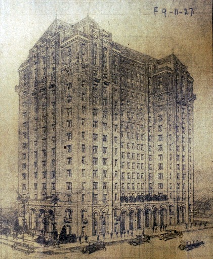 Architectural rendering of Lee Plaza via  HistoricDetroit.org