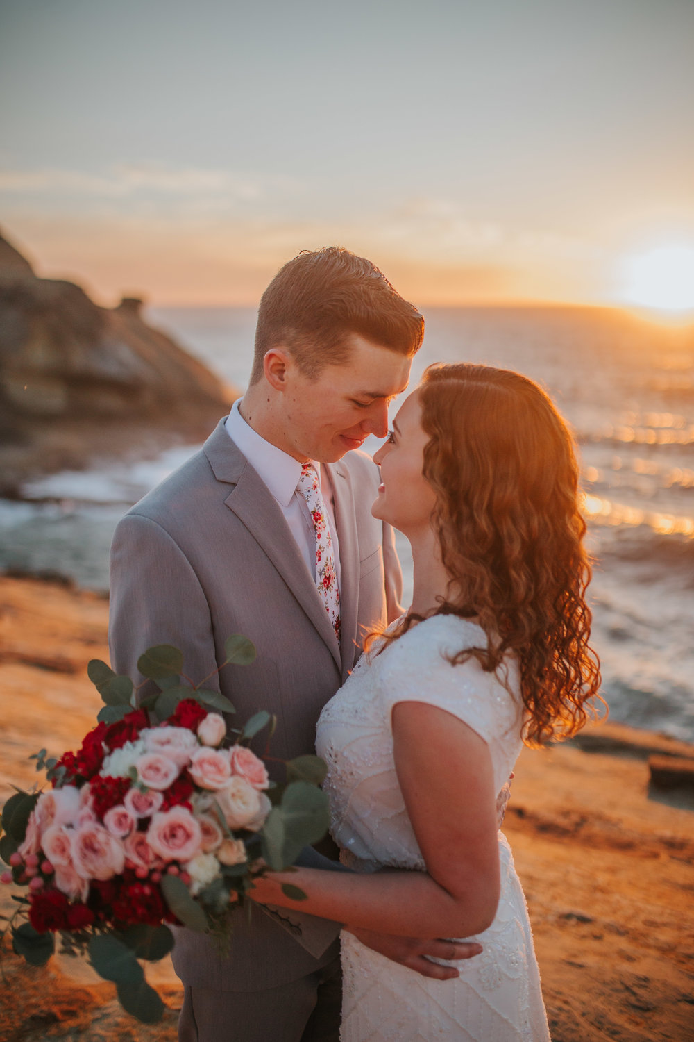 Cannon and Pacific Beach Oregon Wedding Session Bride and Groom at Sunset