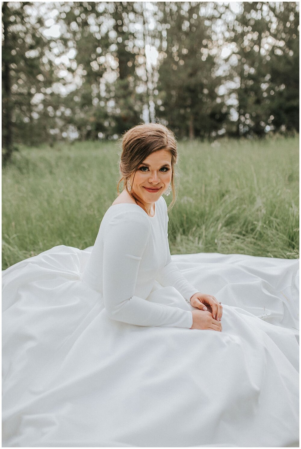 southern_ourdoor_wedding_bridal_bride_alone_sitting_grass_knoxville_field_summer_beautiful_