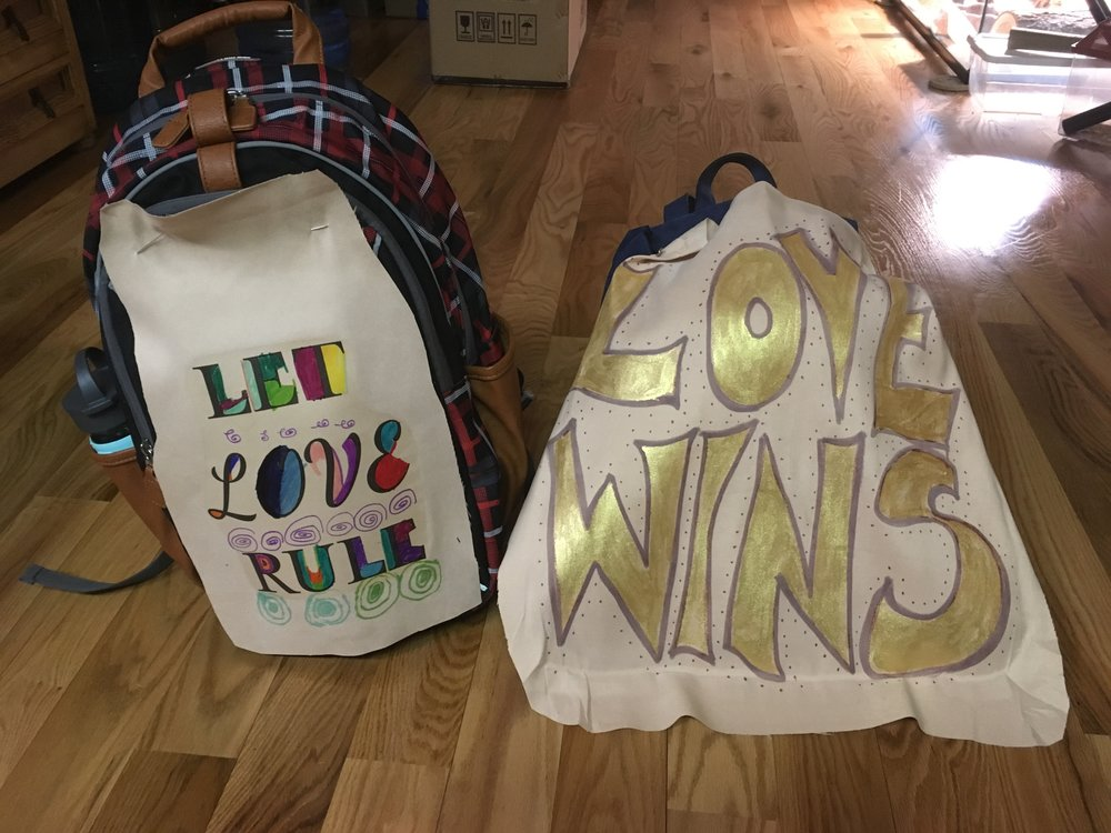 The signs my son and I made and carried at the Women's March