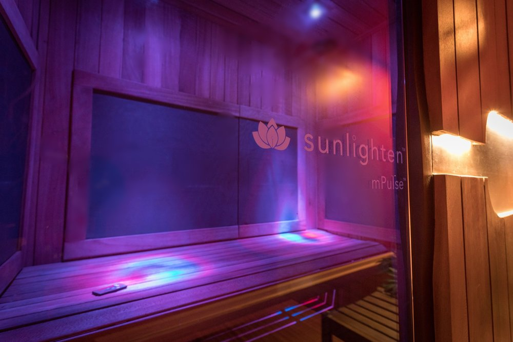 A view of the interior of the full spectrum infrared sauna by Sunlighten here at Float SNJ.  Colors, music, and video are all customizable!