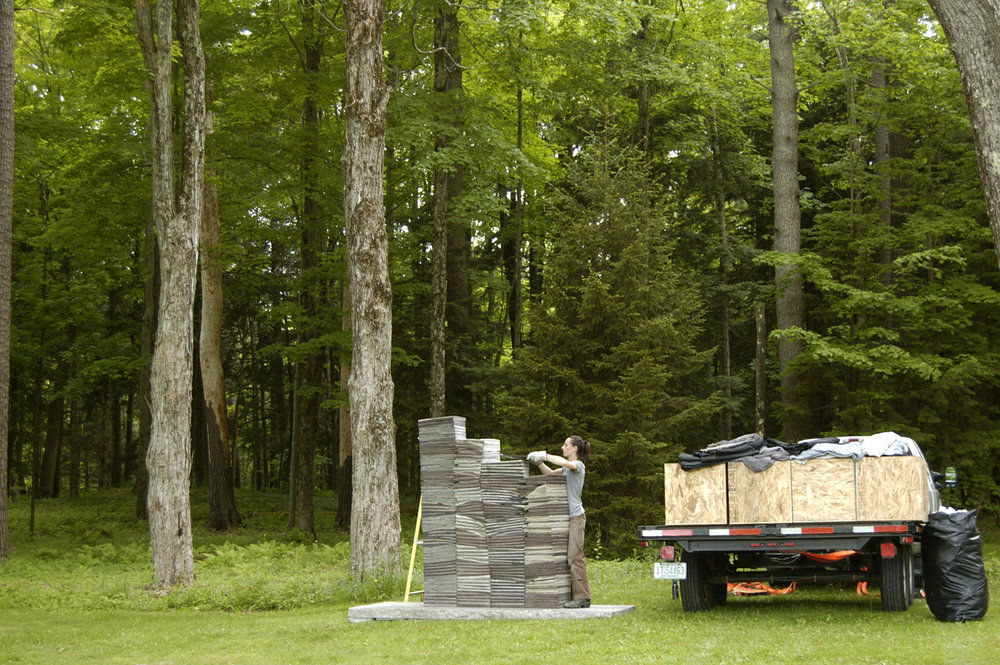 Installing  We have mapped a lot of walls  at The Mount, Lenox, MA, 2014