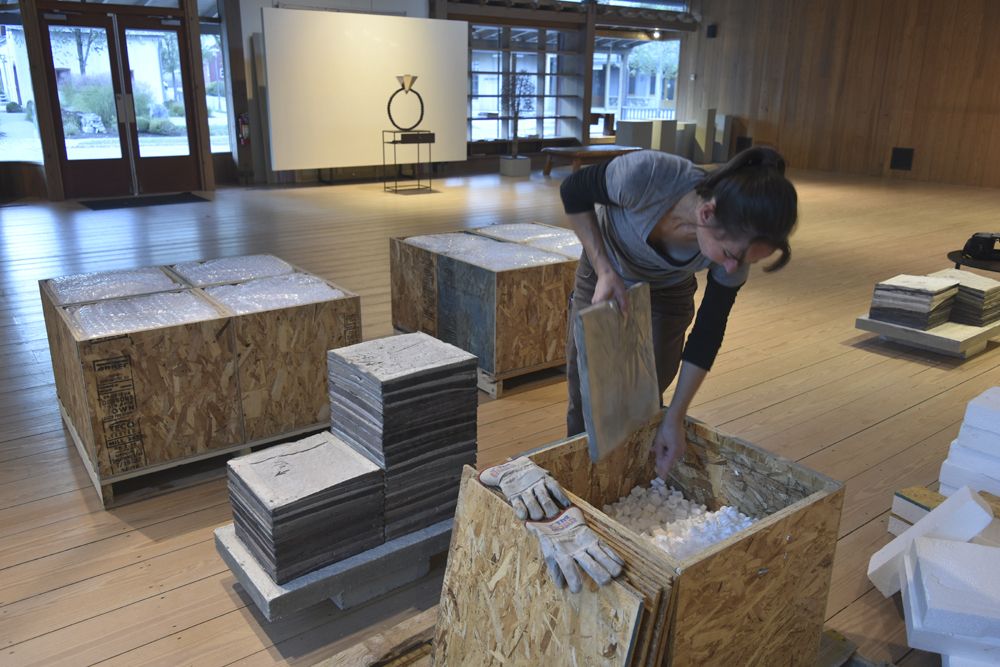 Preparation for STACKED, Morrison Gallery, Kent, CT, 2015