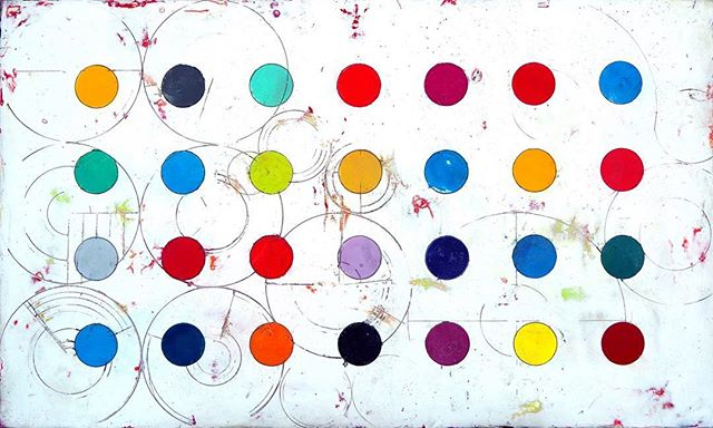 "This series stems from my fascination with patterns created by center pivot irrigation.  At an early age, when I first traveled by airplane, I was captivated by the multi-hued circles that define the landscape of rural America.  Aerial Survey #1, mixed media on panel.  24"" x 40"" (sold). • • #CurtisOlson #textureartist #interiordesignart #mixedmediaartwork #Utahartists #ParkCityresort #mountainartist #architectureart #abstractartists #Wabisabiart #artspot #spotart #artdetails"