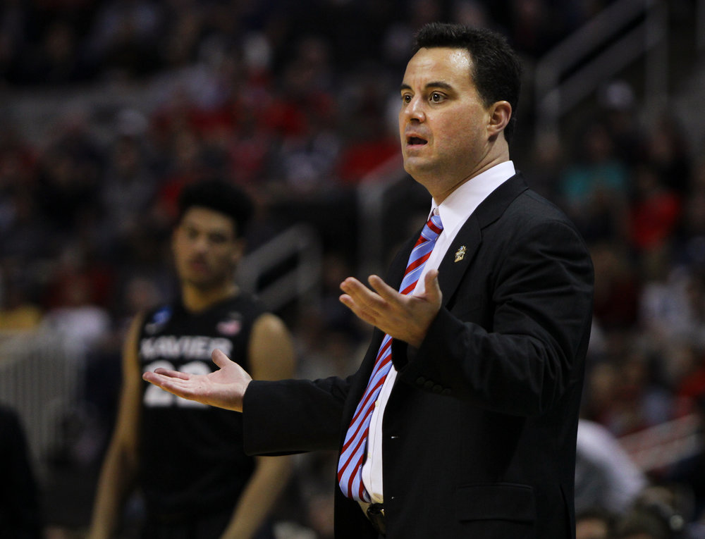 Arizona head coach Sean Miller reacts to a call during their Sweet 16 matchup against Xavier March 23, 2017