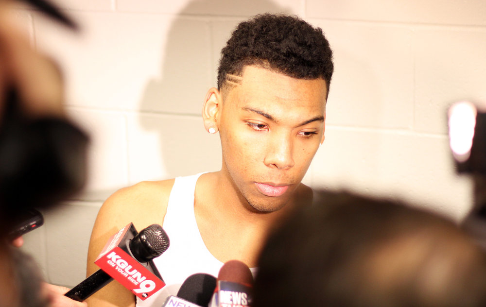 Sophomore guard Allonzo Trier talks to press in the locker room after after Wildcats' 73-71 loss to Xavier Musketeers in the Sweet 16 matchup on March 23, 2017.