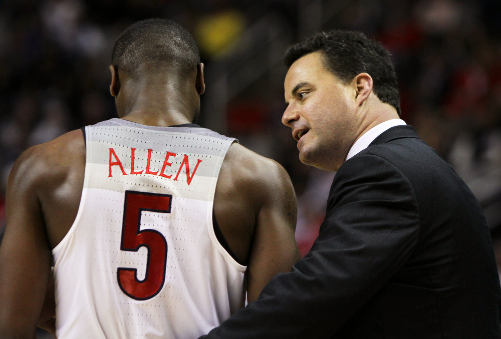 Arizona head coach Sean Miller talks to senior guard Kadeem Allen during the Arizona vs Xavier Sweet 16 matchup on March 23, 2017. This was Allen's last game for the Wildcats.