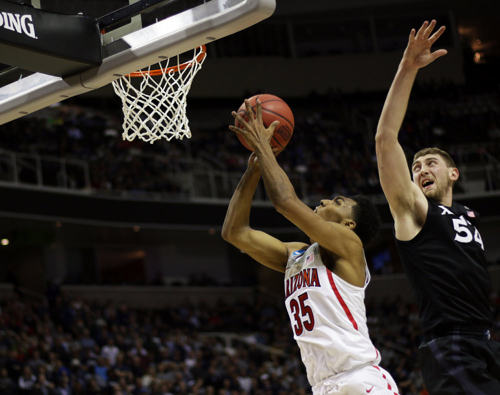 Sophomore guard Allonzo Trier (35) drives to the basket during the second half of the Arizona vs Xavier Sweet 16 matchup on Thursday, March 23. Wildcats lost to Xavier Musketeers 73-71.
