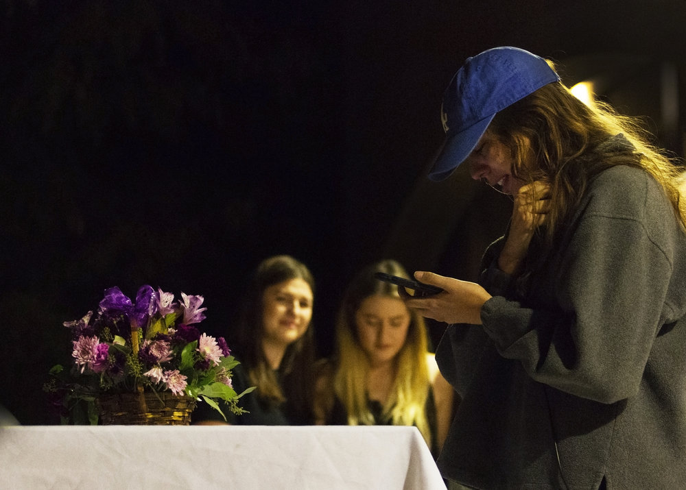 "Jessica Hopkins, Christiana Duarte's best friend, speaks about Chrissy's impact on her life and the tragedy in Las Vegas during the memorial service hosted by the Arizona Zeta Omicron chapter of Sigma Kappa sorority at Greek Heritage Park, Oct. 10, 2017. ""He [God] knew you were meant to be in my life, Chrissy, just like he knows you'll watch over all of us,"" Hopkins said. ""Rest easy, my beautiful best friend. Every day I live without you is a sad day my heart will heave to bear. I'm sorry I couldn't protect you Chrissy, I promise I won't let them forget."""