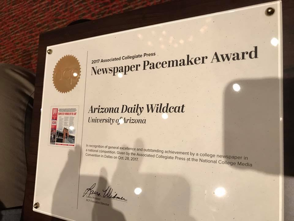 The Daily Wildcat received its fifth national Pacemaker award at the Dallas conference Oct. 28, 2017.
