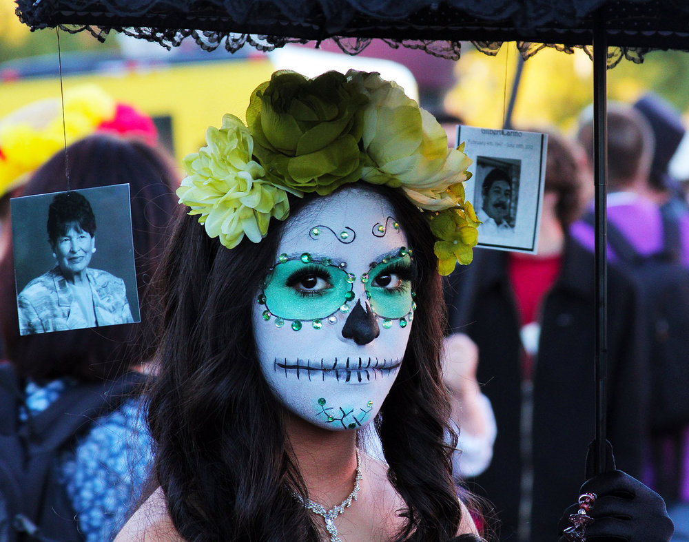 Ashley Maken walks in the annual All Souls Procession in Tucson, Ariz. Nov. 8, 2015.