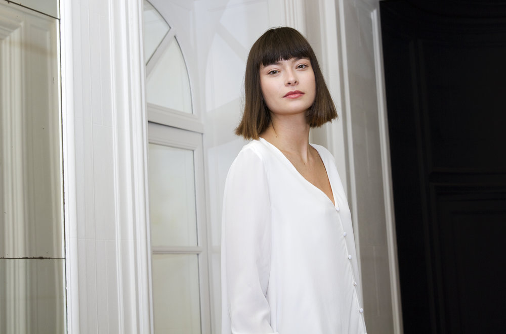 "Parisian model Hélène Leduc poses during The Classics Paris' Autumn/Fall 2018-2019 Presentation March 7, 2018 at the former residence of Gabrielle ""Coco"" Chanel in Paris, France."