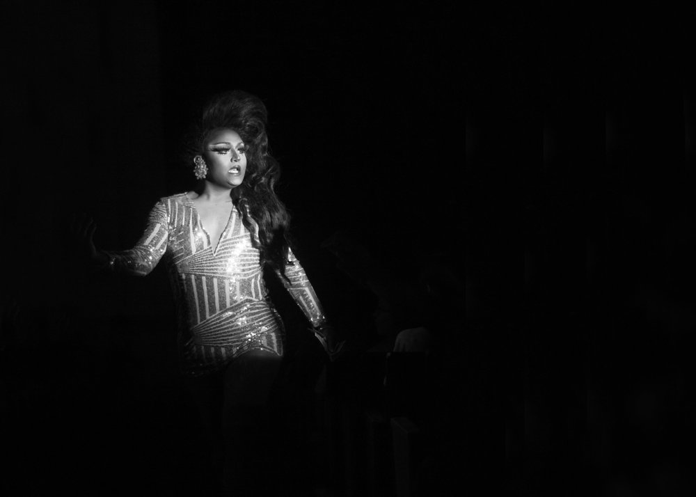 Raquel Blanco walks out on stage during her performance at the Divas in the Desert annual drag show Nov. 3, 2017, hosted by the Omega Chapter of Delta Lambda Phi at the University of Arizona.