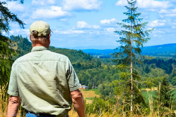 John Henrikson overlooking his land.